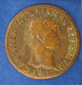 sestertius of Trajan  (AD 98-117 ) obverse